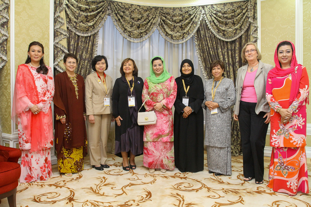On the very left. Toh Puan Zulaikha Sheardin, The Hon. Tun Musa Hitam's wife.