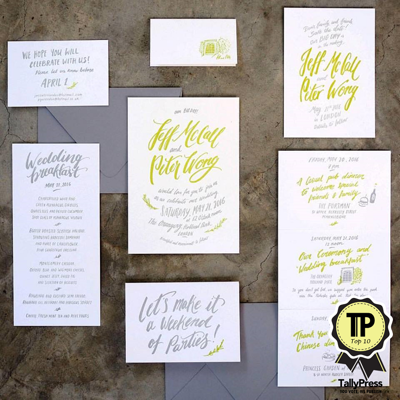 Top 10 Wedding Stationery Makers in Singapore The Fingersmith Letterpress