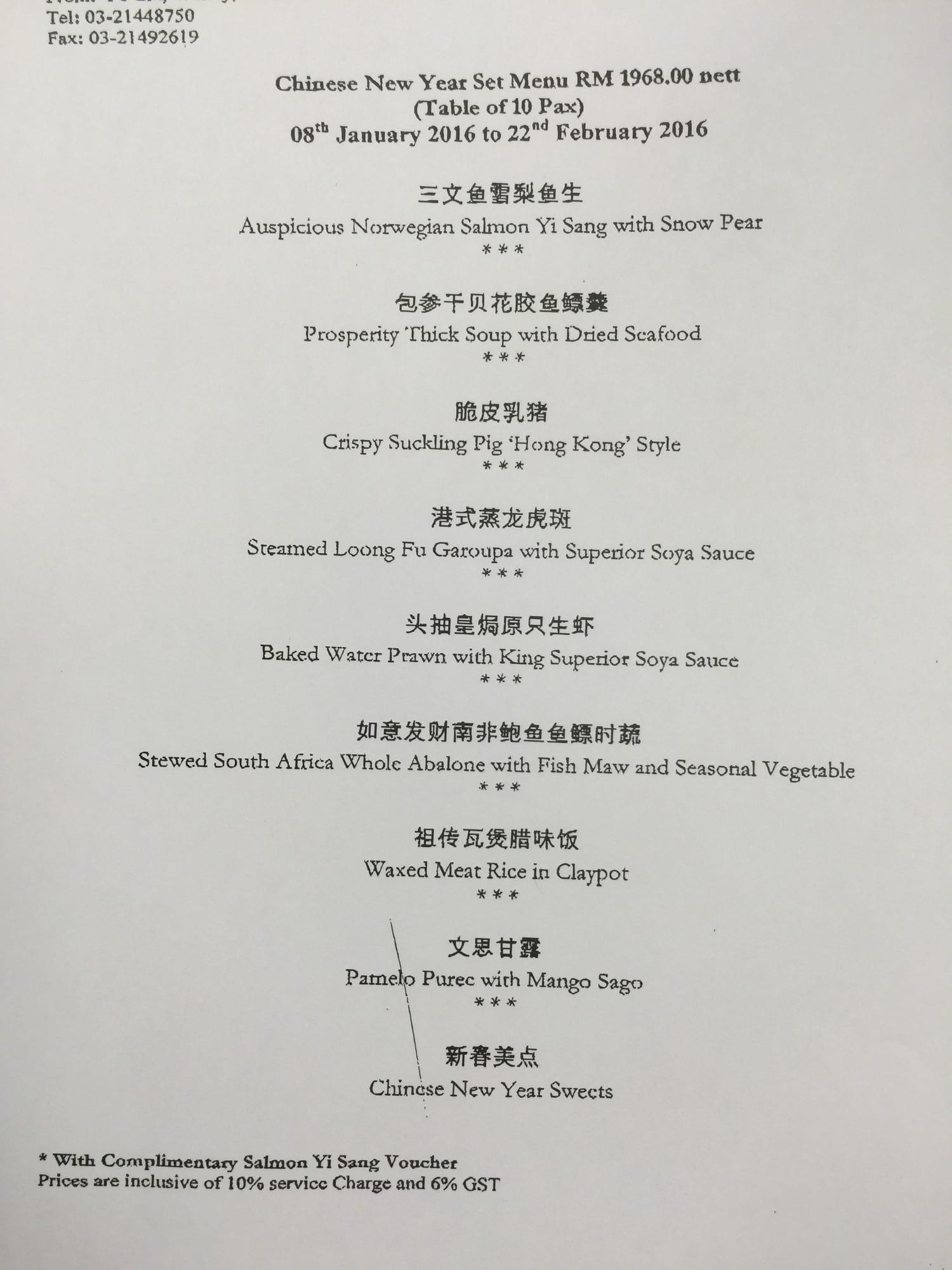 2016 Chinese New Year Set Menus Of 10 Restaurants In Klang Valley