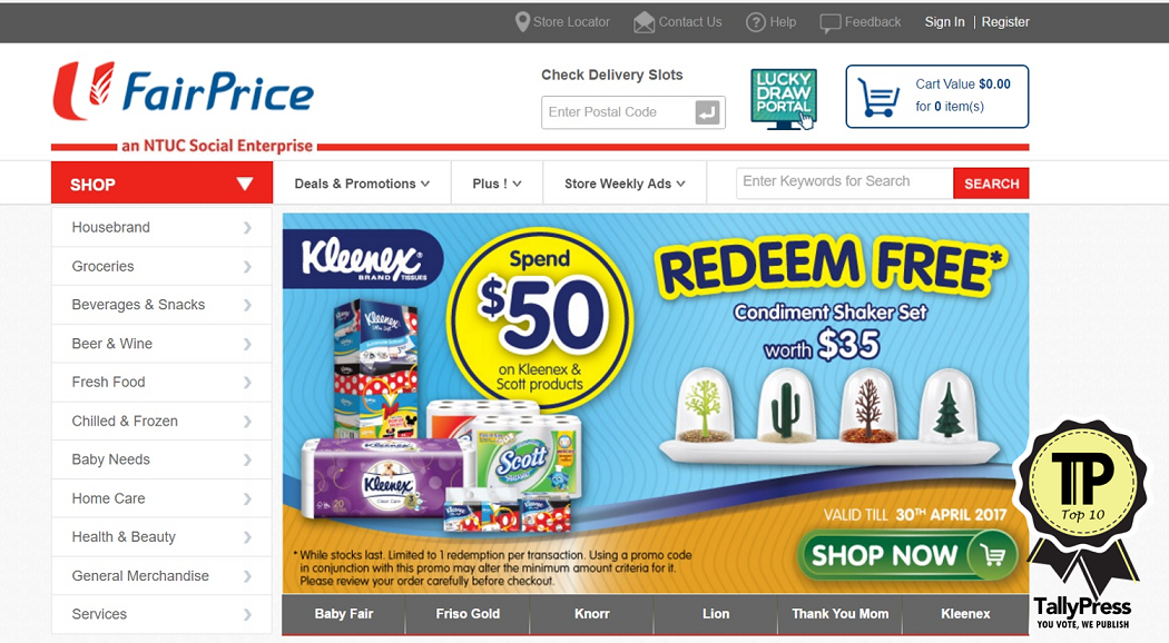 NTUC Fairprice Online:  off with a min. spend of  for new customers till 25 Dec 2020
