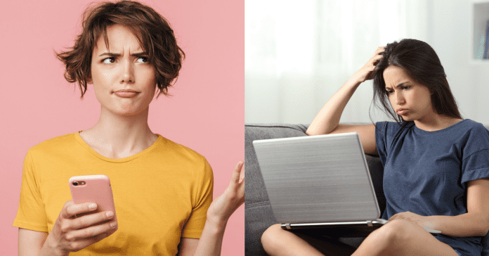 females confused looking at laptop and holding phone