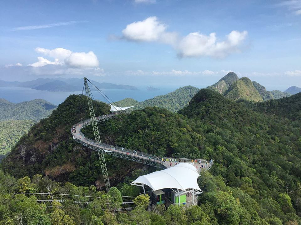 The spectacular aerial view of Langkawi Sky Bridge