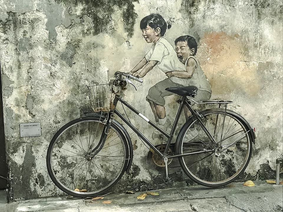 The famous kids-on-a bicycle mural at George Town, Penang