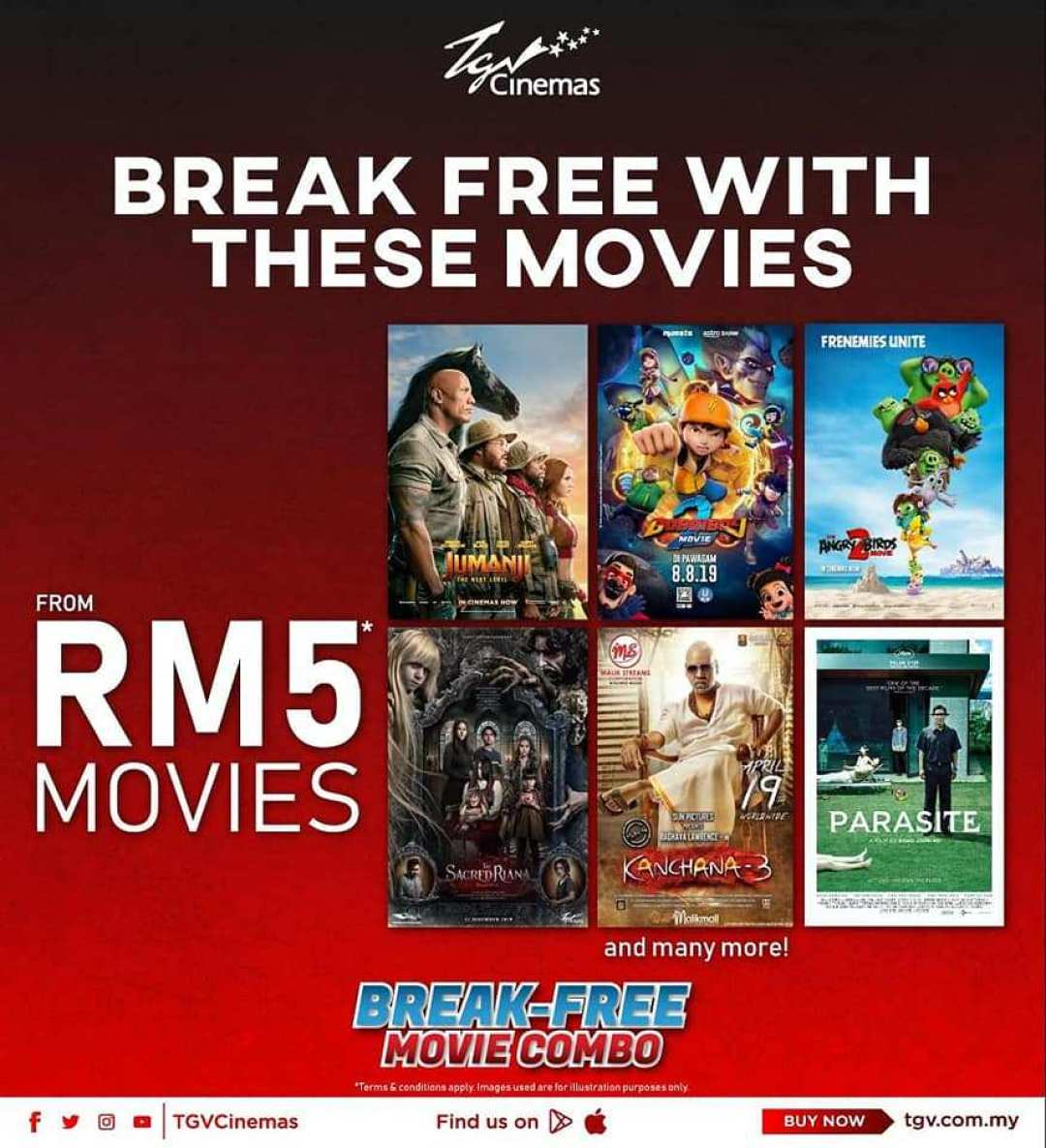 TGV Cinemas offers movie reruns from RM 5.00 onwards